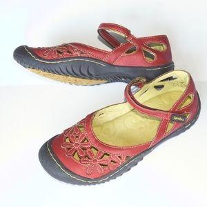 Jambu red blossom Mary Jane vegan shoes sandal 7.5